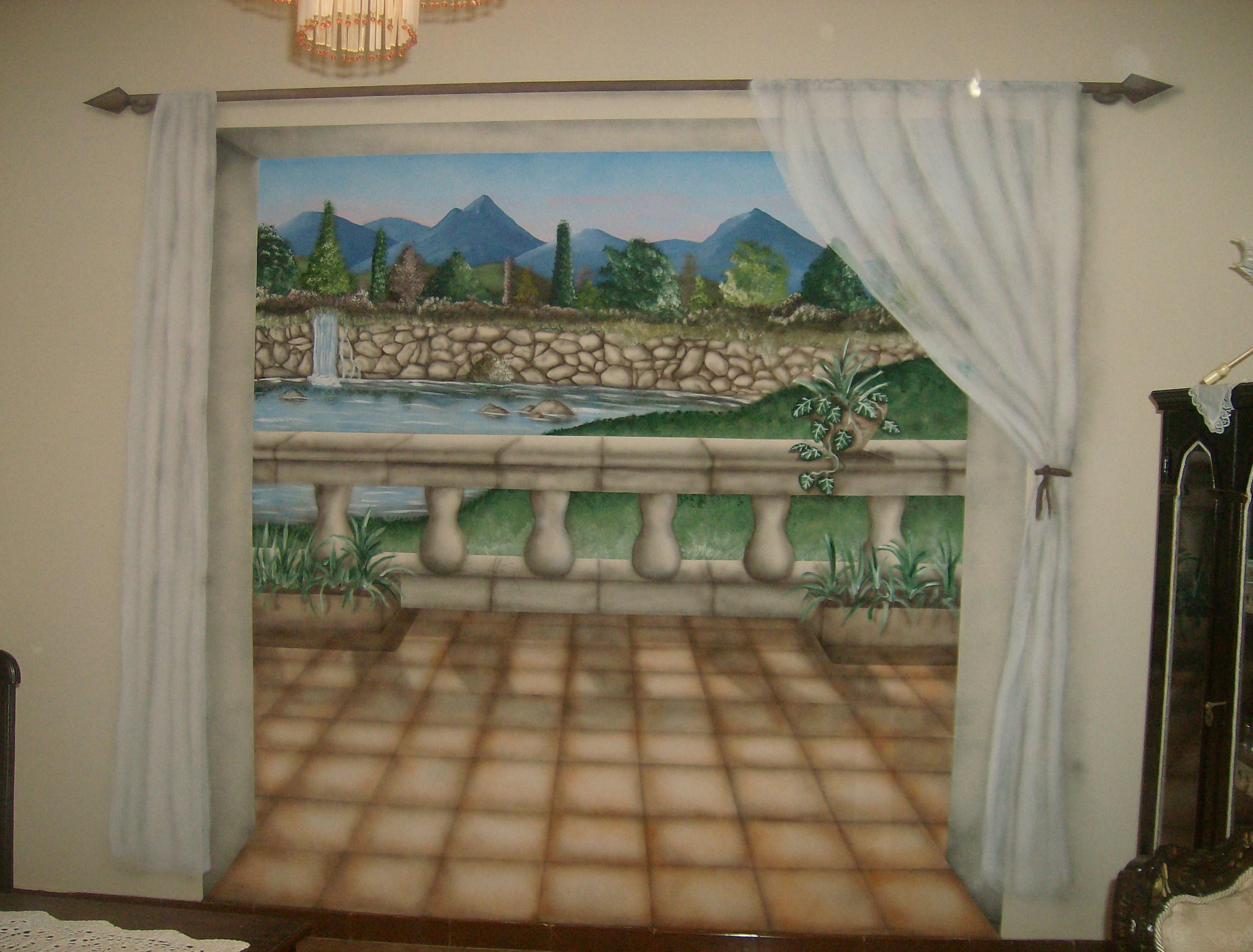 Pittura Stucco Veneziano Foto trompe l'oeil terrazzo con tenda 001 trompe l'oeil lugano